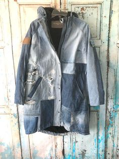 Parka Hoodie jackets Upcycled Denim Upcycled Clothing