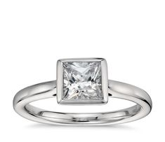 Princess-Cut Bezel-Set Solitaire Engagement Ring in Platinum