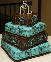 Turquoise And Brown Wedding Cakes   Brooke Checked Out The Initials On This  Cake.