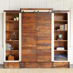 So much character - Entertainment Center made from prairie barn doors