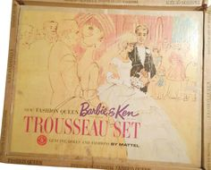 *1964 Trousseau fashion queen Barbie & Ken dolls 3 #864