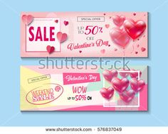 Sale discount banner for Valentines Day set. Weekend Sale Vector. Special offer poster with heart balloons, price tag, festive background. Love, poster, banner, coupon, voucher. Typography Gift card