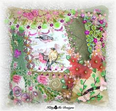 Bird Pillow Hand Embroidered Decorative Crazy Quilt ♥ by Kittyandme, $69.00