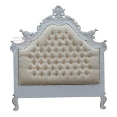 White Upholstered Headboard | French Furniture | Mahogany Antique ...