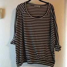 Chloe K Striped Top Super cute three quarter length sleeves purchased from Nordstrom BP. Good condition. Chloe K Tops Tees - Long Sleeve