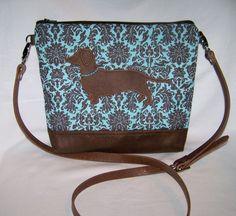 New Blue Hidden Dachshund Smooth Hair Cross Body Handbag Purse