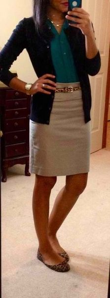 Button Down, Sweater, Pencil Skirt..Work