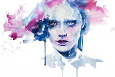 Abstract Watercolor agnes | lately I've seen many of these kind of watercolor portraits: