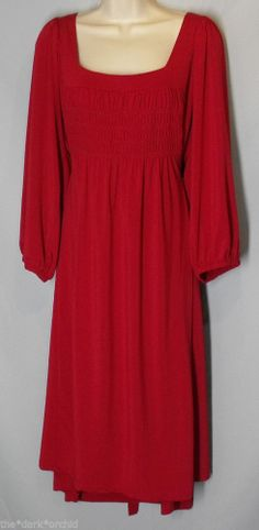 CHELSEA STUDIO size 20W Red Stretch Dress Tie Back Shirred Bodice #ChelseaStudio #Sundress
