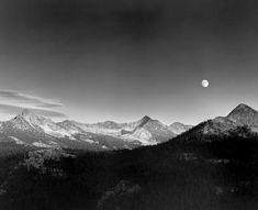 Autumn Moon, High Sierra from Glacier Point, Yosemite National Park, California, 1948 by Ansel Adams