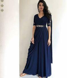Dresses Saree gown Draped dress Saree styles Drape gowns Saree dress This Indian Gowns Dresses, Indian Fashion Dresses, Dress Indian Style, Indian Designer Outfits, Indian Outfits, Lehenga Designs, Saree Blouse Designs, Sari, Saree Dress