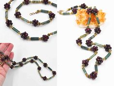 Vintage Sterling Silver, Moss Agate & Garnet Cluster Necklace, Gold Vermeil, Red, Green, Beaded, Semi-Precious, Gorgeous! #c002