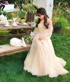 Champagne Tulle Off Shoulder Long Prom Dress