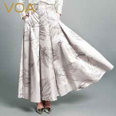 Find More Skirts Information about VOA new silk yarn dyed jacquard skirt female 2016 autumn loose silk big swing A word skirt C6310,High Quality skirt girl,China skirts pencil Suppliers, Cheap skirt dress from VOA Flagship Shop on Aliexpress.com