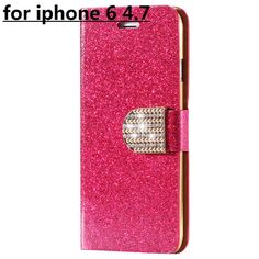 Luxury Bling Diamond Glitter Flip Case for Apple iphone 6 6S 4.7 / 6 6S Plus 5.5 Leather Girl Bag Wallet Stand Rhinestone Cover