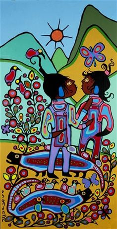 Norval Morrisseau (Canadian, 1932–2007) Title: Figures in a garden Medium: oil on canvas Size: 243.84 x 125.73 cm. (96 x 49.5 in.)