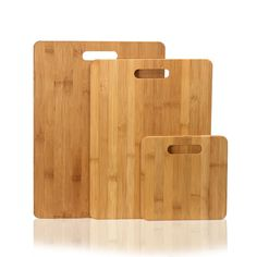 100% Natural Bamboo Chopping Cutting Board with Striped Design Two Rectangle