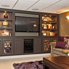 Home Entertainment Center Idea...love the recessed lighting