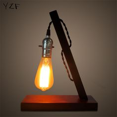yzf new creative small table lamp solid wood retro bedroom bedside modern simple personality lamps wood lamp