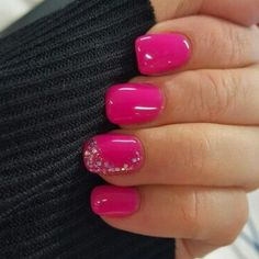 Hot pink nails with a little bit of bling Nail Design, Nail Art, Nail Salon, Irvine, Newport Beach nails colors summertime hot pink 20 Puuuurfect Cat Manicures Nail Designs For Catlovers - Stylendesigns Pink Gel Nails, Gel Nail Colors, Bling Nails, Glitter Nails, Fun Nails, Pink Bling, Hot Bling, Pedicure Colors, Acrylic Nails
