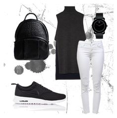 """Back to the Basics"" by stylingwclaire on Polyvore featuring NIKE, ADAM, J Brand, Movado, Alexander Wang, simple, blackandwhite, nike, sneakers and sportystyle"