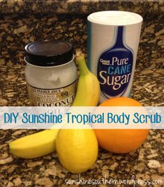 DIY Body Scrub: banana, orange, lemon, coconut oil, and sugar. Smells (and tastes) amazing!