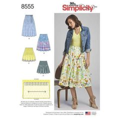 New Sewing Pattern Simplicity Pattern 8555 for Soft Pleated Skirt Border Prints Misses Women Size 6/14 16/24 Bust 30 to 46 Brand by LanetzLiving on Etsy