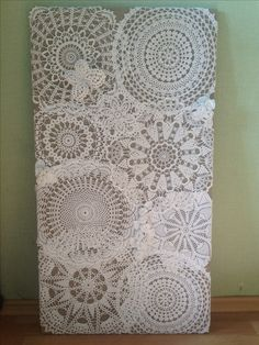 Lace Art on canvas. Doily Art, Lace Art, Doilies Crafts, Crochet Doilies, Framed Doilies, Artistic Room, Crochet Wall Art, Sewing Crafts, Sewing Projects