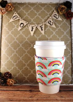 Rainbows and Clouds Coffee Cozy - Rainbows Coffee Cozy - Coffee Cozy - Fabric Coffee Cozy - Tea Cozy by SewLoveToSew on Etsy