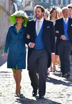 The groom, Hereditary Prince Ferdinand of Leiningen walks with his mother Princess Alexandra of Leiningen, as they arrives for his religious wedding ceremony to Princess Viktoria Luise of Prussia at the Princely Abbey Church in Amorbach on September 16, 2017