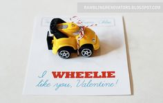 Rambling Renovators: A Wheelie Cute Valentine Preschool Valentine Crafts, Valentines For Kids, Valentine Gifts, Valentine Ideas, Cars Trucks Birthday Party, Car Party, Car Birthday, Party Fun, Party Time