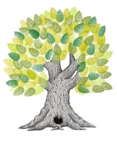 Contemporary Wedding Guest Book Tree/ Family Tree Print $52