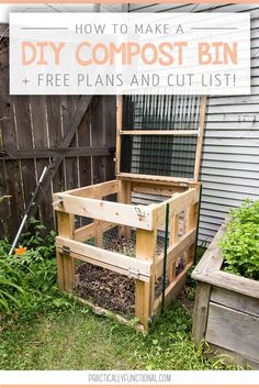 How To Build A DIY Compost Bin + Free Plans & Cut List! This DIY compost bin is sturdy, easy to open, has good airflow, and latches closed to keep out critters! Free plans and full tutorial here! Diy Garden Projects, Outdoor Projects, Garden Ideas, Backyard Ideas, Organic Gardening, Gardening Tips, Gardening Quotes, Flower Gardening, Faire Son Compost