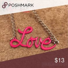 Cute pink LOVE script charm pendant with necklace ❤️ SOLD AS IS!  💜BUNDLE TO SAVE!  💙 ACCEPTING *ALL* REASONABLE OFFERS! 💛 FEEL FREE TO ASK QUESTIONS!  ☠️ PINK LOVE SCRIPT CHARM/PENDANT & NECKLACE ☠️  🔹 good condition 🔹 worn only a few times 🔹 somewhat heavy 🔹 chain included 🔹  #necklace #charm #pendant #love #handwriting #script #raver #rave #edm #festival #club #stripper #dancer #gogo #silver #cosplay #pink #big #bright #heavy #text #cute Jewelry Necklaces