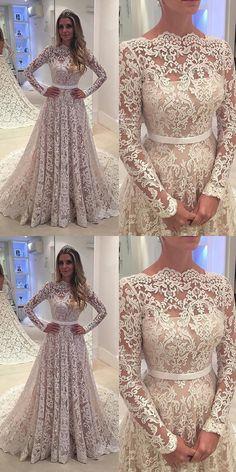 wedding dresses, lace wedding dresses with court train, elegant wedding dresses
