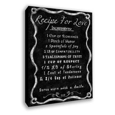 Recipe for Love Canvas Print.