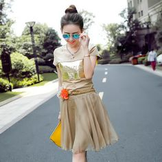 Summer 2014 female Bohemia elegant high-grade flower belt posed chiffon skirt suit two-piece outfit $65.36