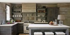 gray kitchen -  walls, cabinets, and island  in light-dark shades of gray -   open shelves - transitional kitchen that could easily be taken more contemporary with a change of hood and counter stools - Allure of Foxhall: Beth Webb Designs | Atlanta Homes & Lifestyles