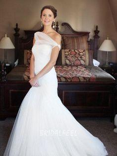One Shoulder Wrap Wedding Dress