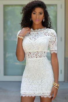 White Crochet Lace V Back Mini Dress https://www.modeshe.com #modeshe @modeshe #White