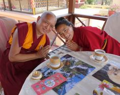 Long life prayer for Khadro-la: Lama Zopa Rinpoche and Khadro-la having tea after long life puja at Kopan Monastery, April 29, 2013. Photo by Ven. Roger Kunsang.