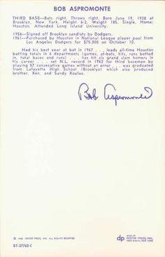 1968 Dexter Press Houston Astros #1 Bob Aspromonte Back