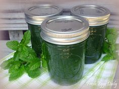 Mint Jelly from the Garden  (yield four 1/2 pint jars)
