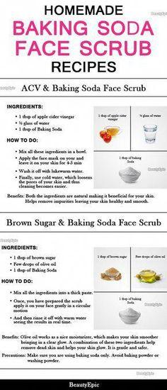 Homemade Baking Soda Face Scrub Recipes #BakingSodaFace Baking Soda Facial, Baking Soda Face Scrub, Baking Soda For Acne, Baking Soda Shampoo, Baking Soda Uses, Baking Soda Mask, Face Baking, Diy Face Scrub, Face Scrub Homemade