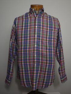 Brooks Brothers Men's Irish Linen Shirt Sz L Blue Pink Green Red Plaid Excellent #BrooksBrothers #ButtonFront