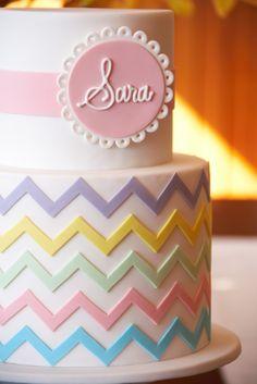 couture cupcakes & cookies - christening - christening cake - pastel chevron cake
