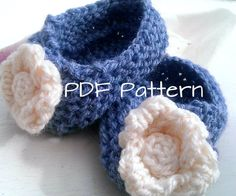 PDF Knitting Pattern  Rosebud Baby Slippers by Clicketyknitting, £1.50