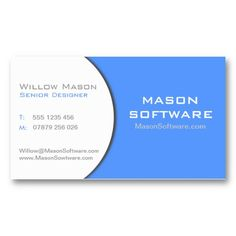 White  Blue Corporate Technology Business Card