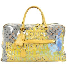 Pre-owned Louis Vuitton Patent Leather 48h Bag ($1,481) ❤ liked on Polyvore featuring bags, women bags travel bags, yellow, handle bag, weekend bag, louis vuitton, monogrammed weekender bag and louis vuitton bags