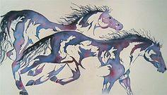 Watercolor Print Horses  'Runners' by JanetLongArts on Etsy